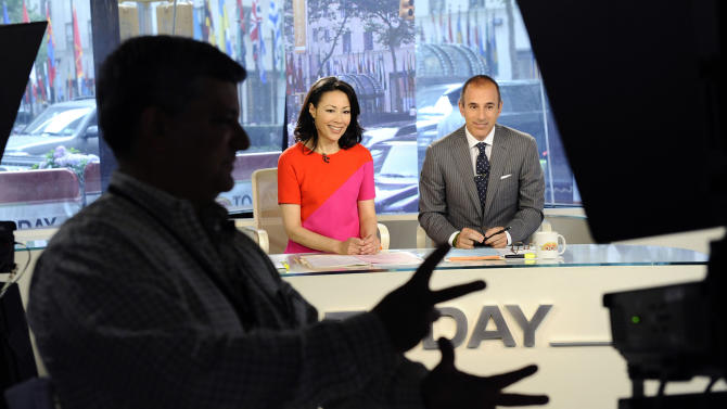 """In this photo released by NBC, """"Today"""" show co-hosts Ann Curry and Matt Lauer appear on the """"Today"""" show, Thursday, June 9, 2011, in New York. Thursday was Ann's first day replacing Meredith Vieira as co-anchor of the show. (AP Photo/NBC, Peter Kramer)"""