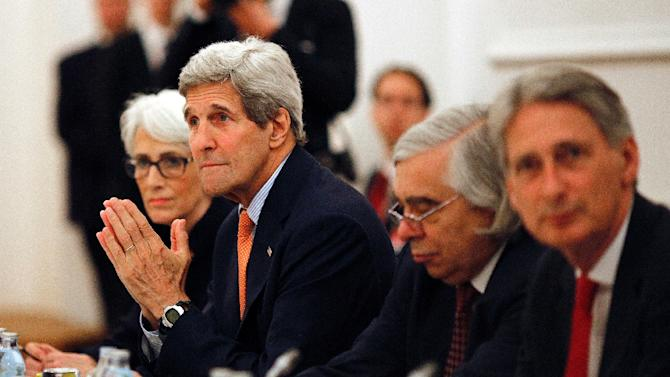 US Secretary of State John Kerry (2nd,L) and  US Under Secretary for Political Affairs Wendy Sherman (L) meet with foreign ministers in Vienna on July 7, 2015