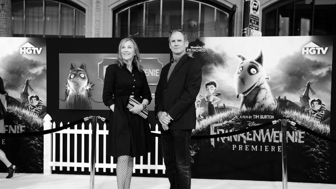 Actress Catherine O'Hara, left, and husband Bo Welch arrive at the premiere of Disney's stop-motion animated full length black and white film 'Frankenweenie' directed by Tim Burton on Monday Sept. 24, 2012, in Los Angeles. (Photo by Jordan Strauss/Invision for Disney/AP Images)