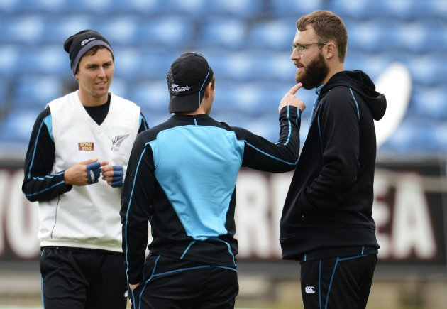 New Zealand's Vettori has his beard pointed at by McCullum as Boult looks on, during a training session before the second test cricket match against England in Leeds