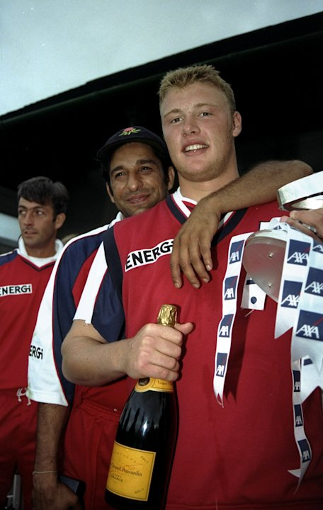 7 Sep 1998:  Wasim Akram and Andy Flintoff of Lancashire celebrate winning the match between Hampshire v Lancashire in 1998 AXA Cricket Sunday League played at Old Trafford, Manchester, England. Lanca
