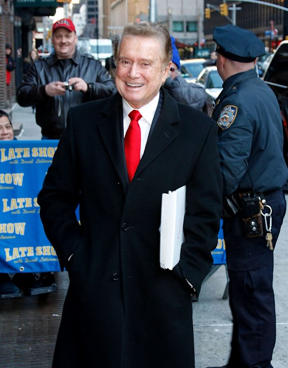"Regis Philbin arrives for his appearance on the ""Late Show with David Letterman"" at the Ed Sullivan Theater on February 14, 2008 in New York City."