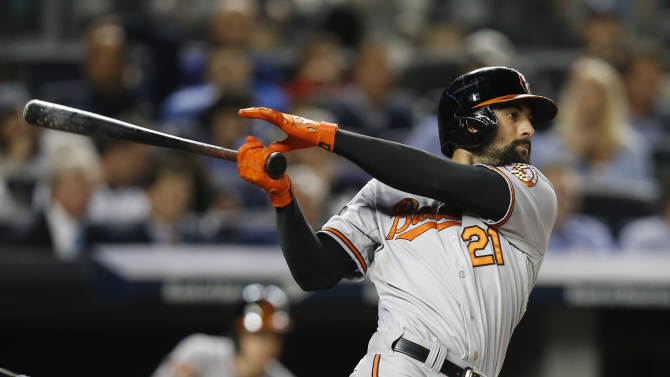 Baltimore Orioles right fielder Nick Markakis follows through on a fourth-inning, two-run home run off New York Yankees starting pitcher Brandon McCarthy in a baseball game at Yankee Stadium in New York, Tuesday, Sept. 23, 2014. (AP Photo/Kathy Willens)