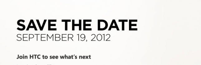 HTC sends out press invites for an event on September 19th