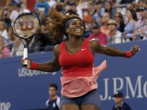 Serena Williams of the U.S. celebrates after defeating Azarenka of Belarus during their women's singles final match at the U.S. Open tennis championships in New York