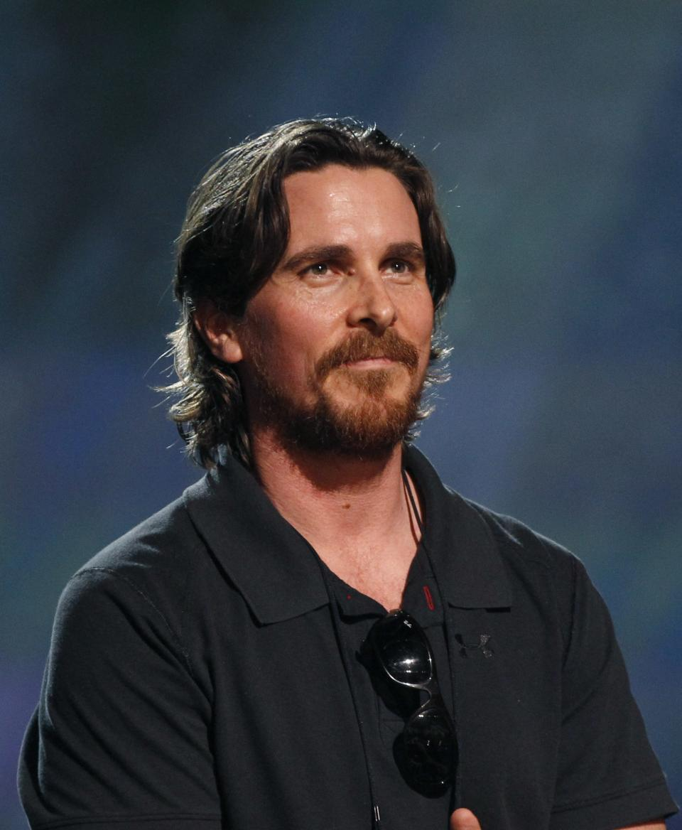 Actor Christian Bale rehearses for the 84th Academy Awards, Saturday, Feb 25, 2012 in Los Angeles. (AP Photo/Chris Carlson)