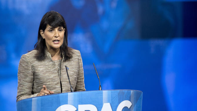 """FILE – In this March 15, 2013 file photo Republican governor of South Carolina Nikki Haley speaks at the 40th annual Conservative Political Action Conference (CPAC) in National Harbor, Md. As more Republicans give in to President Barack Obama's health-care overhaul, an opposition bloc remains across the South, which includes governors who lead some of the nation's poorest and unhealthiest states. """"We will not expand Medicaid on President Obama's watch. We will not expand Medicaid ever,"""" Haley told the audience at CPAC. Medicaid is financed mostly by Congress, with state's putting up match funding. Obama's law mandated that states open Medicaid to everyone with household income up to 133 percent of the federal poverty rate, but the Supreme Court ruled states must have a choice.  (AP Photo/Manuel Balce Ceneta, File)"""