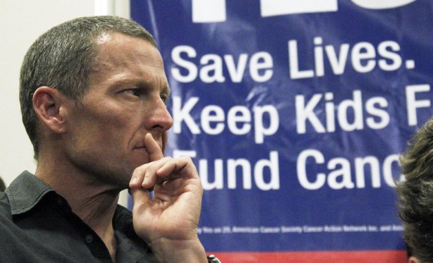 FILE - In this Friday, May 11, 2012 file photo, Cycling legend and cancer survivor Lance Armstrong attends a rally at a news conference at Children&#39;s Hospital in Los Angeles in favor of Proposition 29, a measure on the June 2012 California primary election ballot that would add a $1-per-pack tax on cigarettes. The money raised would go to cancer research projects, smoking-reduction programs and tobacco law enforcement. Fabled as a mecca for the health-conscious and fitness-obsessed, California is also one of only a few states that has not hiked its cigarette taxes in the last decade, meaning it is less expensive to light up in Los Angeles and San Francisco than many other places in the country. The tobacco industry wants to keep it that way. It has amassed nearly $50 million to kill an initiative on Tuesdays primary ballot that is championed by cycling star Lance Armstrong and supported by New York Mayor Michael Bloomberg, who has donated $500,000 to its campaign. (AP Photo/Reed Saxon)