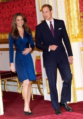 Prince William and Kate Middleton pose for photographs in the State Apartments of St James Palace on November 16, 2010 in London, England -- WireImage