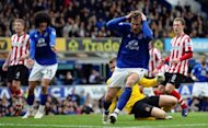 Everton's Nikica Jelavic (R) reacts after a missed scoring opportunity during their English FA Cup quarter-final match against Sunderland, at Goodison Park in Liverpool, on March 17. Everton advanced to the semis where they face Liverpool, at Wembley, on Saturday