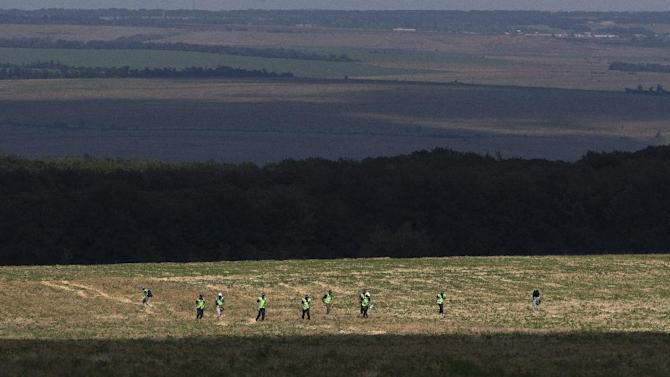 Australian and Dutch experts examine an area at the scene of the downed Malaysia Airlines Flight 17 plane near the village of Rossipne, Donetsk region, eastern Ukraine, Sunday, Aug. 3, 2014. (AP Photo/Dmitry Lovetsky)