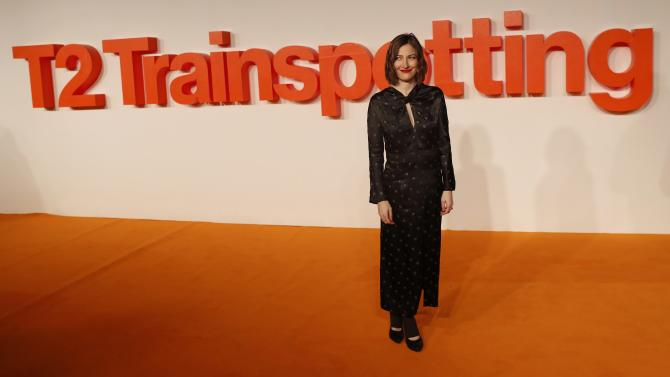 """Actress Kelly Macdonald poses as she arrives at the world premiere of the film """"T2 Trainspotting"""" in Edinburgh"""