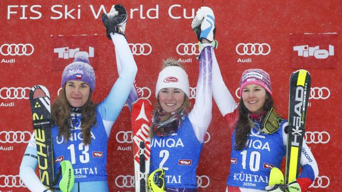 Strachova from Czech Republic, Shiffrin from the U.S. and Holdener from Switzerland react after the World Cup Women's Slalom race in Kuehtai ski resort