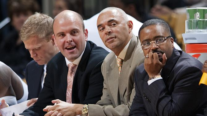 Missouri head coach Frank Haith, right, watches with new assistant coaches Dave Leitao, center, and Rick Carter, left, during the first half of an NCAA college basketball exhibition game against Northwest Missouri State Monday, Oct. 29, 2012, in Columbia, Mo. Missouri won the game 91-58. (AP Photo/L.G. Patterson)