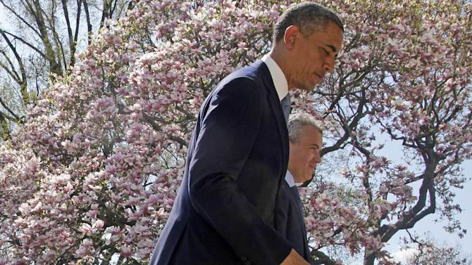 "FILE - In this April 10, 2013 file photo President Barack Obama and acting Budget Director Jeffrey Zients leave the Rose Garden of the White House in Washington after the president discussed his proposed fiscal 2014 federal budget. Presidents like to take credit for economic recoveries, just as Obama is angling to do now. He and his allies in Congress have ""walked the economy back from the brink,"" his new 2014 federal budget blueprint asserts. And Democrats hope these improvements, while still slow and uneven, will give them at least a small boost in 2014's midterm races.  (AP Photo/Charles Dharapak, File)"