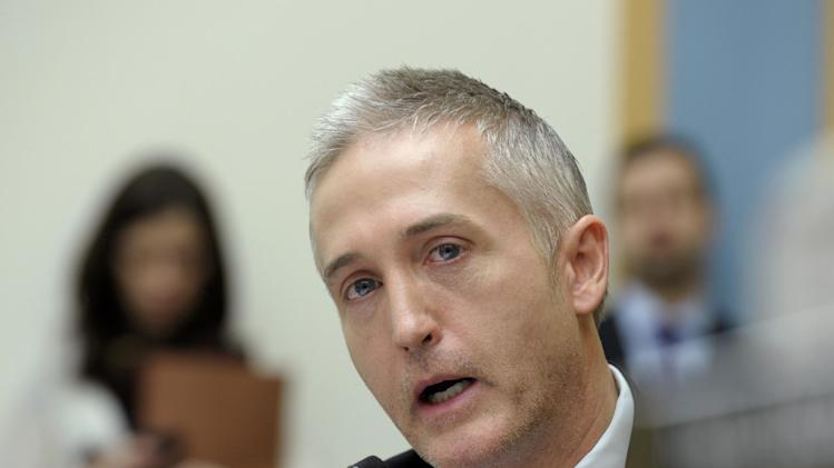 House Judiciary Committee member Rep. Trey Gowdy, R-S.C., gives his opening remarks on Capitol Hill in Washington, Tuesday, Feb. 5, 2013, during the committee's hearing on America's Immigration System: Opportunities for Legal Immigration and Enforcement of Laws against Illegal Immigration.  (AP Photo/Susan Walsh)