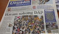 Haram to support DAP, screams Utusan front page