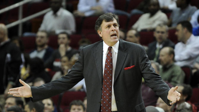 Houston Rockets coach Kevin McHale questions a call in the first half of an NBA basketball game against the Los Angeles Lakers Tuesday, March 20, 2012, in Houston. (AP Photo/Pat Sullivan)