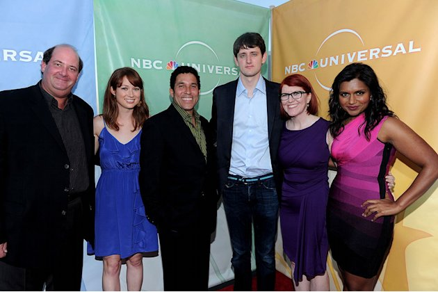 """The Office's"" Brian Baumgartner, Ellie Kemper, Oscar Nunez, Zach Woods, Kate Flannery, and Mindy Kaling arrive at NBC Universal's 2010 TCA Summer Party on July 30, 2010 in Beverly Hills, California."