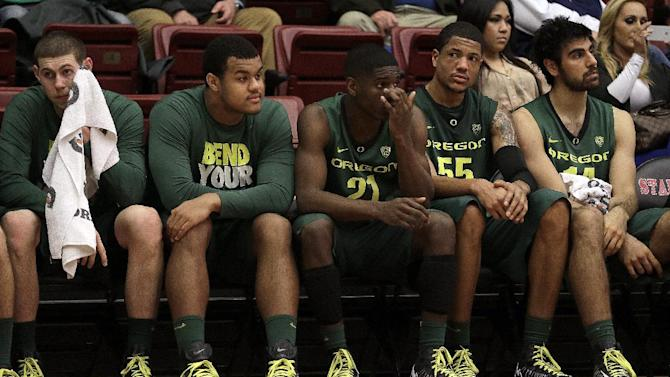 Players on the Oregon bench watch during the second half of an NCAA college basketball game against Stanford Wednesday, Jan. 30, 2013, in Stanford, Calif. (AP Photo/Ben Margot)