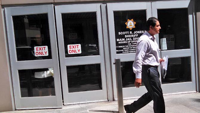Democratic state Sen. Ben Hueso walks out of the Sacramento County Jail in Sacramento, Calif., Friday, Aug. 22, 2014. Hueso was booked into the Sacramento County Jail early Friday morning after being arrested on suspicion of drunken driving and driving with a blood alcohol content of 0.08 percent or more. (AP Photo/Fenit Nirappil)