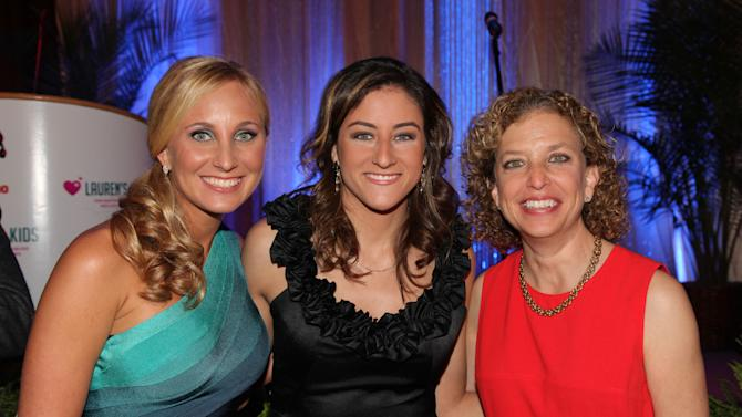 Lauren's Kids founder, Lauren Book, CNN Correspondent & Pulitzer Prize recipient, Sara Ganim and U.S. Representative for Florida's 23rd congressional district and the Chair of the DNC, Debbie Wasserman Schultz attend the Seventh Annual Reid & Fiorentino Call of the Game Dinner Presented by Publix at the Seminole Hard Rock Hotel & Casino on Saturday, March 9th, 2013 in Hollywood, Fl. Lauren's Kids is a Florida-based organization aimed at preventing child sexual abuse and healing survivors through education and awareness. The organization, headquartered in Aventura, Florida, was started by Lauren Book, M.S. Ed., a survivor of childhood sexual abuse who endured abuse at the hands of her nanny for six years. (Photo by Omar Vega/Invision for Lauren's Kids/AP Images)