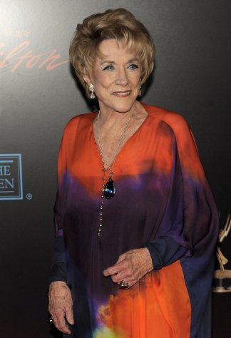 "FILE - In this June 27, 2010 file photo, ""The Young and the Restless"" star Jeanne Cooper, who has been with the show since months after its debut in 1973, arrives at the 37th Annual Daytime Emmy Awards in Las Vegas. Cooper, who turns 84 next month, shows no signs of slowing down. (AP Photo/Chris Pizzello, File)"
