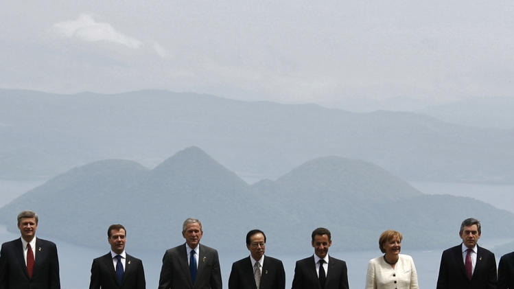 File photo of Group of Eight leaders posng for group photo at G8 Hokkaido Toyako Summit in Toyako