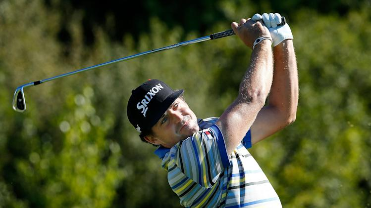 Keegan Bradley tees off on the third hole during the first round of the Deutsche Bank Championship in Norton, Massachusetts on August 29, 2014