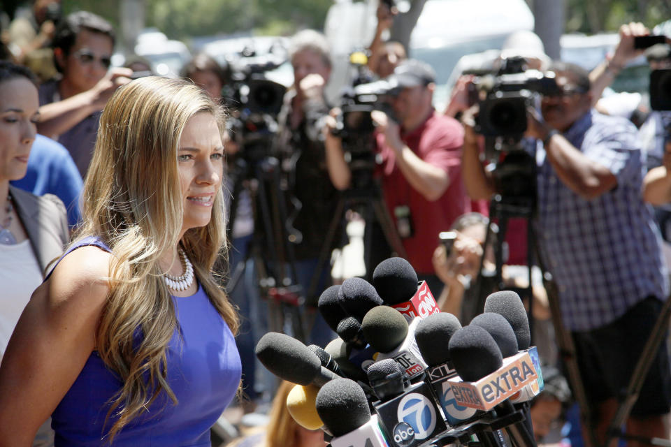 Dr Kirsti Funk of the  Pink Lotus Breast Center, makes a statement regarding Angelina Jolie's double mastectomy Tuesday May 14, 2013 in Beverly Hills,  Calif. Jolie underwent the procedure after learning she had a high probability for breast cancer.  ( AP Photo/Nick Ut)
