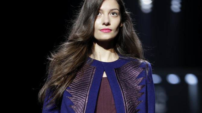 The Diane von Furstenberg Fall 2013 collection is modeled during Fashion Week in New York, Sunday, Feb. 10, 2013.  (AP Photo/Seth Wenig)