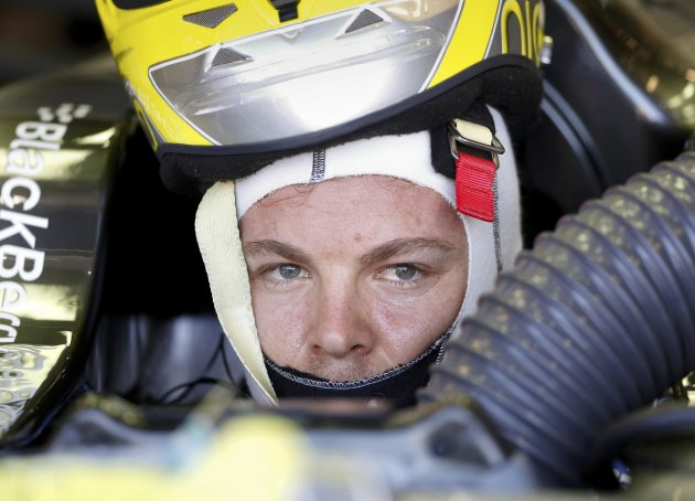 Mercedes Formula One driver Nico Rosberg of Germany looks on in his car during the second practice session of the Monaco F1 Grand Prix