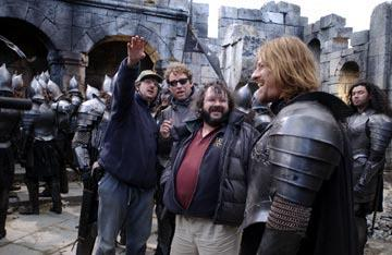 Director Peter Jackson and Sean Bean on the set of New Line's The Lord of The Rings: The Two Towers