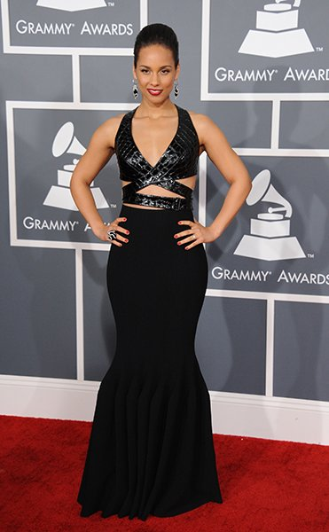 BEST: Alicia Keys wearing Azzedine Alaia  Alicia Keys better WORK with that bondage-inspired leather-topped fishtail gown from the same designer that made Rihanna's beautiful dress. Pretty earrings an