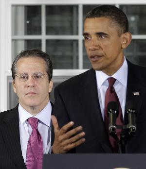 President Barack Obama announces Gene Sperling, left, as the new director of the National Economic Council, while speaking about the economy at Thompson Creek Manufacturing, which makes custom replacement windows, Friday, Jan. 7, 2011, in Landover, Md. (AP Photo/Charles Dharapak)