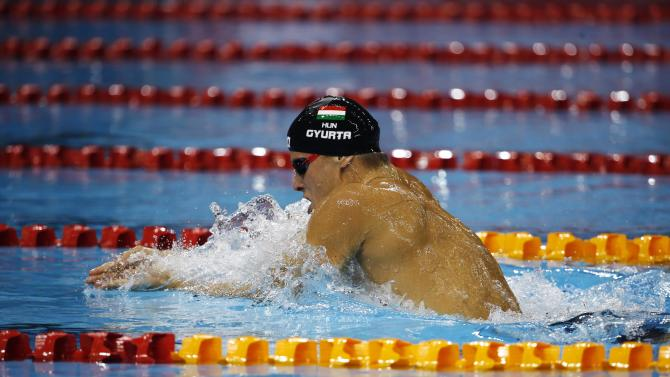 Daniel Gyurta of Hungary swims to win during the men's 200m breaststroke event of the FINA Swimming World Cup in Singapore