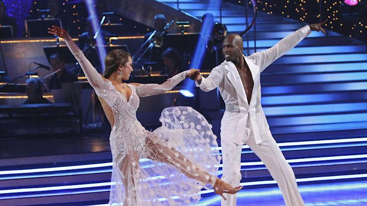Cheryl Burke and Chad Ochocinco perform a dance on the 10th season of Dancing with the Stars.