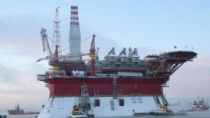 FILE - In this file photo made Saturday, Nov. 27, 2010, the Prirazlomnaya oil platform is towed to the Arctic seaport of Murmansk, 1,450 km (906 miles) north of Moscow, Russia. The sinking of another Russian oil platform sunday, Dec. 18, 2011, has highlighted fears that Russian oil companies may not have the necessary expertise to develop hard-to-tap offshore fields in the Arctic. (AP photo/ Andrei Pronin, File) (AP Photo/Andrei Pronin)