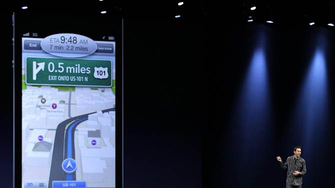 Scott Forstall, Apple's senior vice president of iOS Software, talks about features for the new iOS 6 software, including a new maps program, during the Apple Developers Conference in San Francisco,  Monday, June 11, 2012. New iPhone and Mac software and updated Mac computers were among the highlights Monday at Apple Inc.'s annual conference for software developers. (AP Photo/Marcio Jose Sanchez)