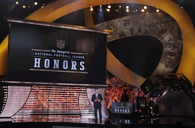 Host Alec Baldwin speaks during the inaugural NFL Honors show Saturday, Feb. 4, 2012, in Indianapolis.The New York Giants will face the New England Patriots in the NFL football&#39;s Super Bowl XLVI in Indianapolis on Feb. 5. (AP Photo/Marcio Sanchez)