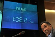 S.D. Shibulal, CEO of Infosys, addresses the media after announcing company results in Bangalore on October 12, 2011. Infosys on Friday reported flat profit growth in the three months to December, beating estimates, and gave an improved outlook for annual revenues, which sent its shares soaring