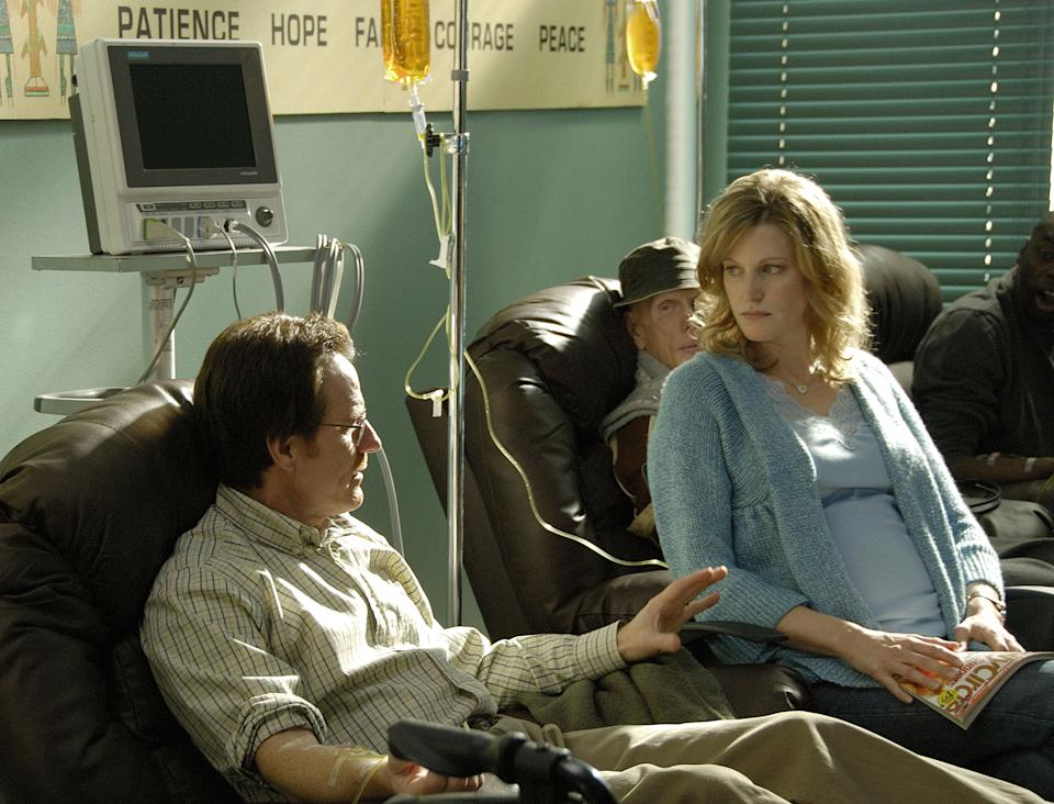"This image released by AMC shows Walter White, played by Bryan Cranston, and his wfe Skyler White, played by Anna Gunn, during Walt's chemotherapy treatment during the first season of ""Breaking Bad."" The series finale of the popular drama series aired on Sunday, Sept. 29. (AP Photo/AMC, Ursula Coyote)"