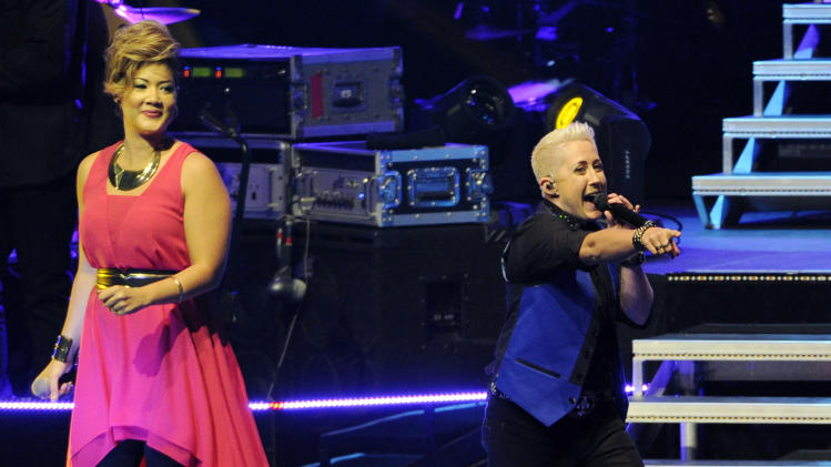 "Tessanne Chin, left, winner of season five of the reality television singing competition ""The Voice,"" and season six contestant Kristen Merlin perform together during ""The Voice"" 2014 Summer Tour stop at Nokia Theatre on Tuesday, July 29, 2014 in Los Angeles. (Photo by Chris Pizzello/Invision/AP)"
