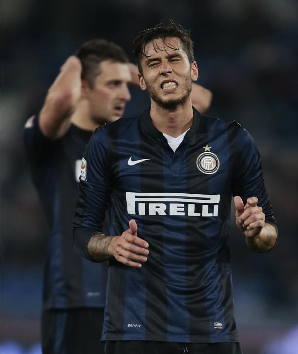 Inter Milan's Ricardo Alvarez reacts during the Italian Serie A soccer match against Lazio at the Olympic stadium in Rome