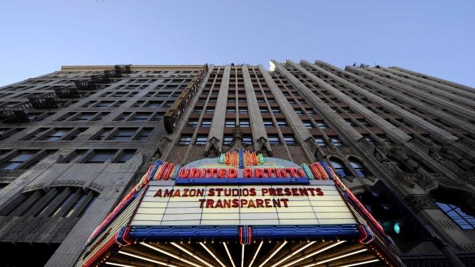 "The marquee of United Artists theater is seen during Amazon's premiere screening of  ""Transparent"" at the Ace Hotel in downtown Los Angeles"