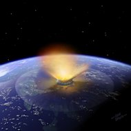 Artists impression of a 6-mile-wide asteroid striking the Earth. Scientists now have fresh evidence that such a cosmic impact ended the age of dinosaurs near what is now the town of Chixculub in Mexico.