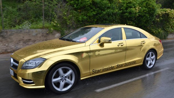 Mercedes gold wrap Cannes