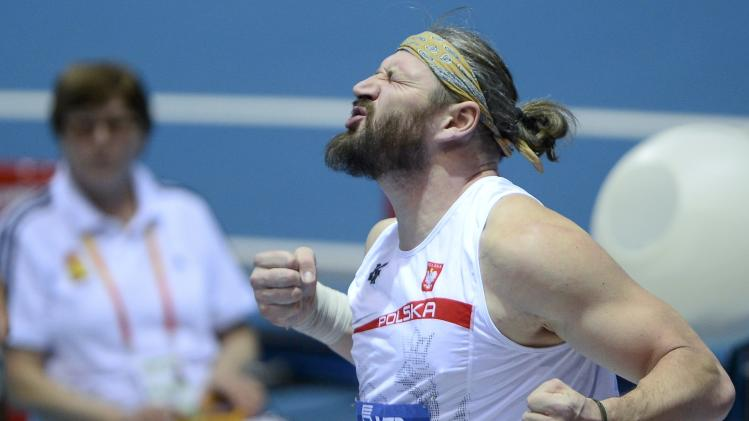 Majewski of Poland reacts during the men's shot put final at the world indoor athletics championships at the ERGO Arena in Sopot