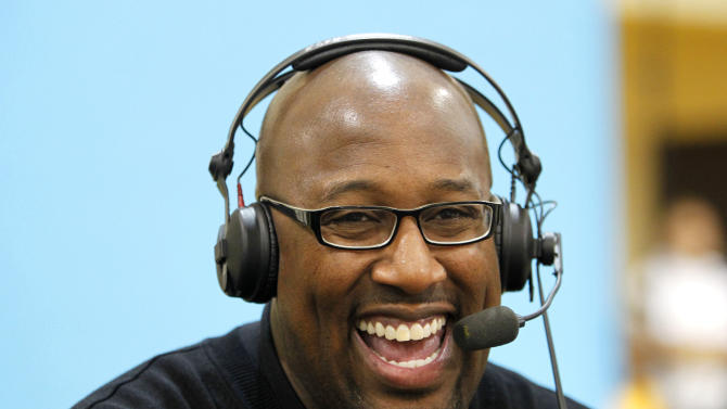 Los Angeles Lakers head coach Mike Brown talks with a local radio show during the Lakers' media day in El Segundo, Calif., Sunday, Dec. 11, 2011.  (AP Photo/Alex Gallardo)