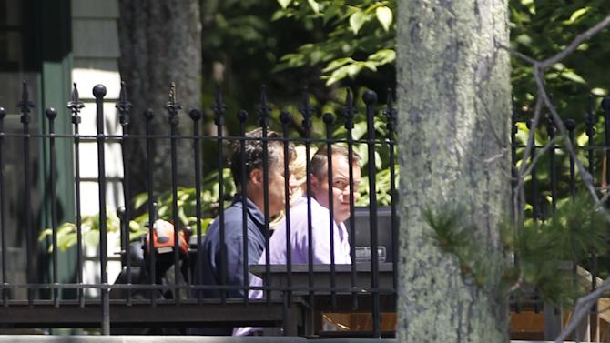 Republican presidential candidate Mitt Romney, left, meets with his campaign manager Matt Rhoades at his vacation home on Lake Winnipesaukee in Wolfeboro, N.H., Tuesday, July 3, 2012. Romney is on vacation _ but not from politics. The Republican presidential candidate huddled Tuesday with his top advisers, including his campaign manager and the aide overseeing his vice presidential search. His top strategist was in town shooting video for new TV ads(AP Photo/Charles Dharapak)
